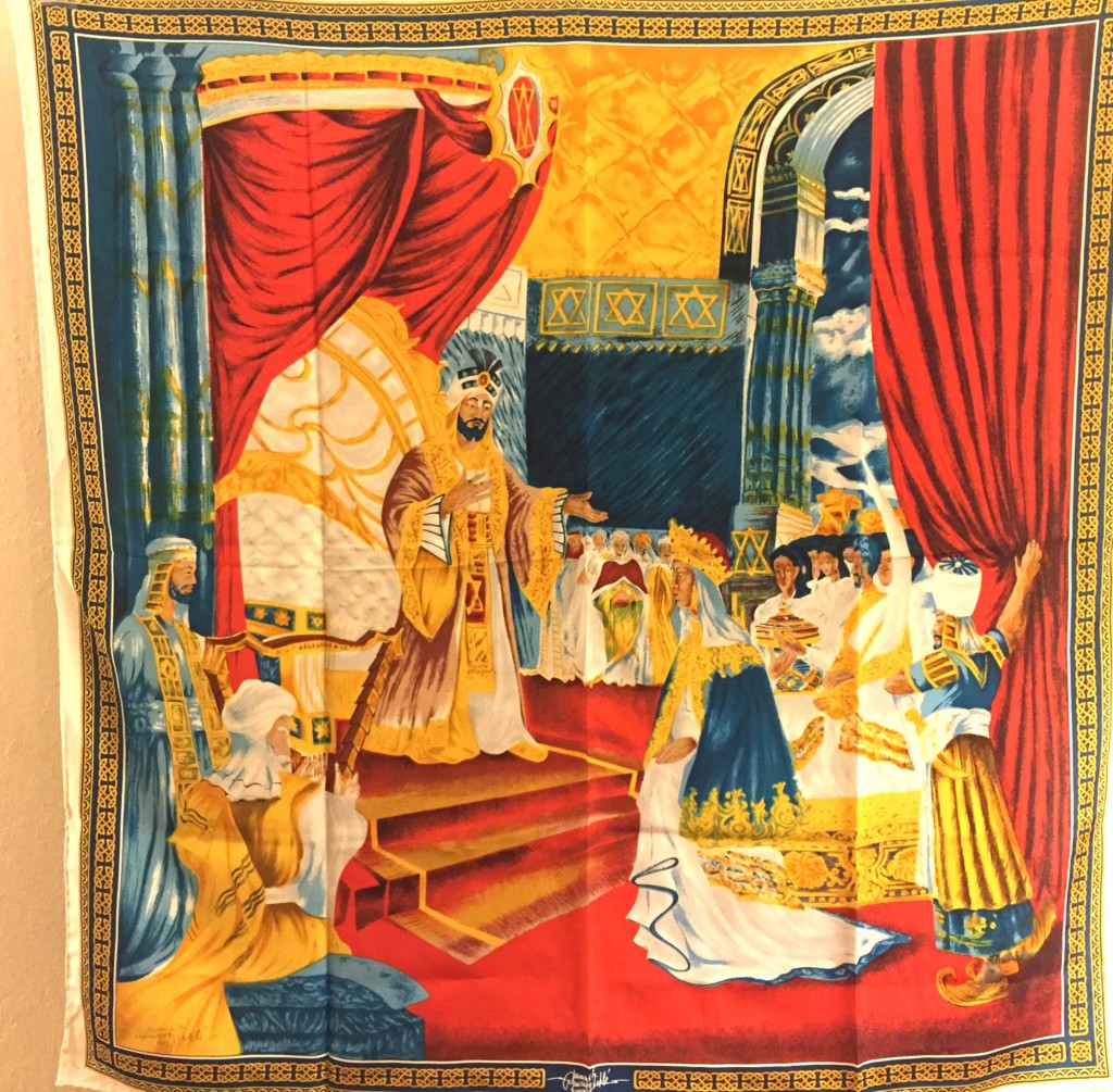 Scarf depicting the Queen of Sheba's visit to King Solomon in Jerusalem.